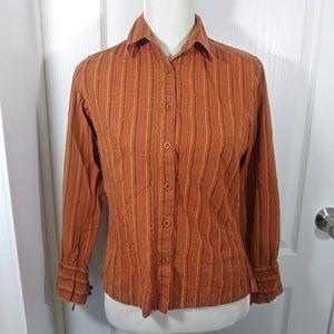 Columbia Small Orange Button Front Cotton Top